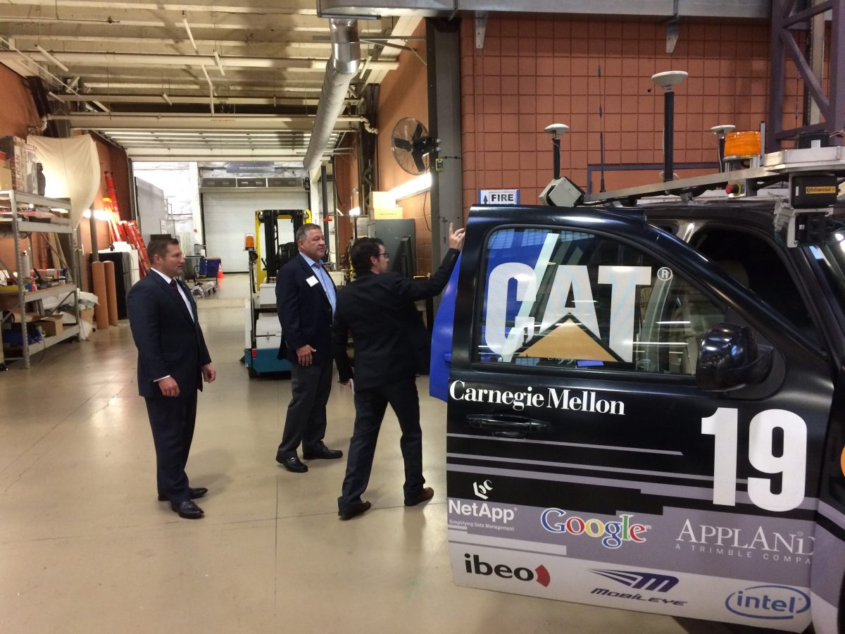 House Infrastructure and Transportation Committee Chairman, Congressman Bill Shuster and Pennsylvania State Senator Guy Reschenthaler get a tour of the CMU National Robotics Engineering Center and the research being conducted.