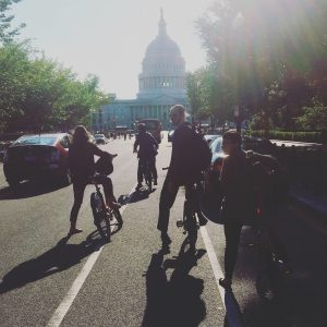 Photo of some ENO Fellows on Bicycles in DC