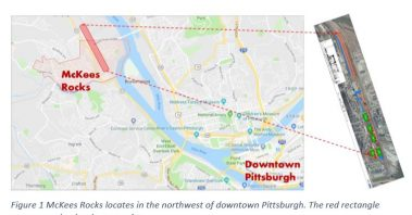 Map showing McKees Rocks and Downtown Pittsburgh