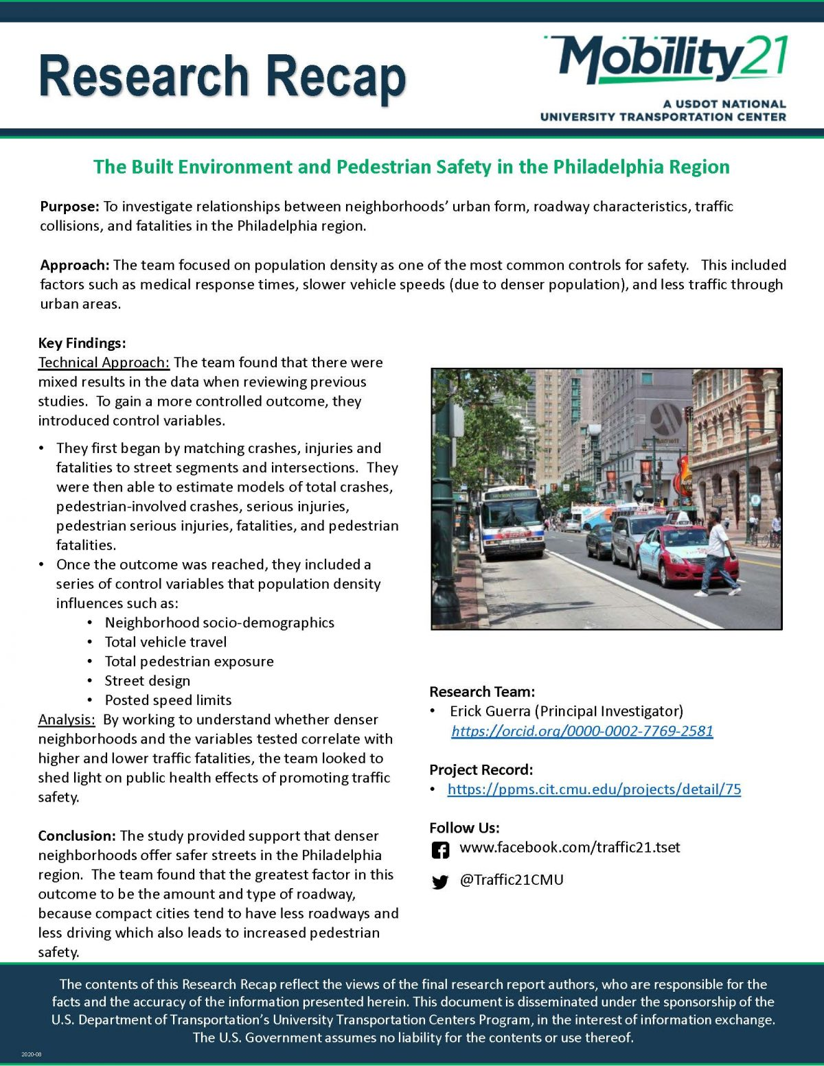 Image of the Research Recap: The Built Environment and Pedestrian Safety in the Philadelphia Region
