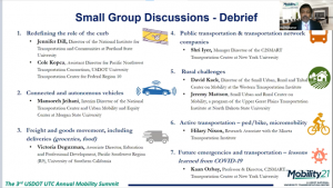 2021 National Mobility Summit - Small Group Discussion Debrief