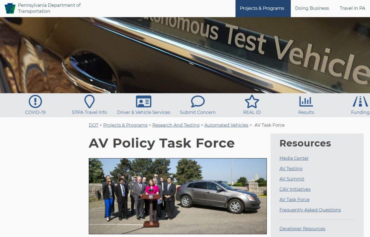 Screenshot of the PA AV Task Force Website